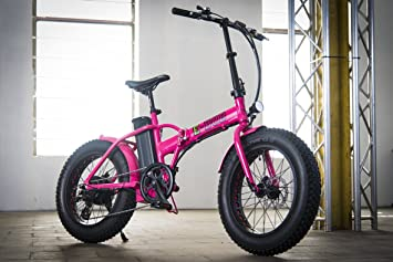 Bicicleta eléctrica plegable Fat Bike E-Bob, color rosa