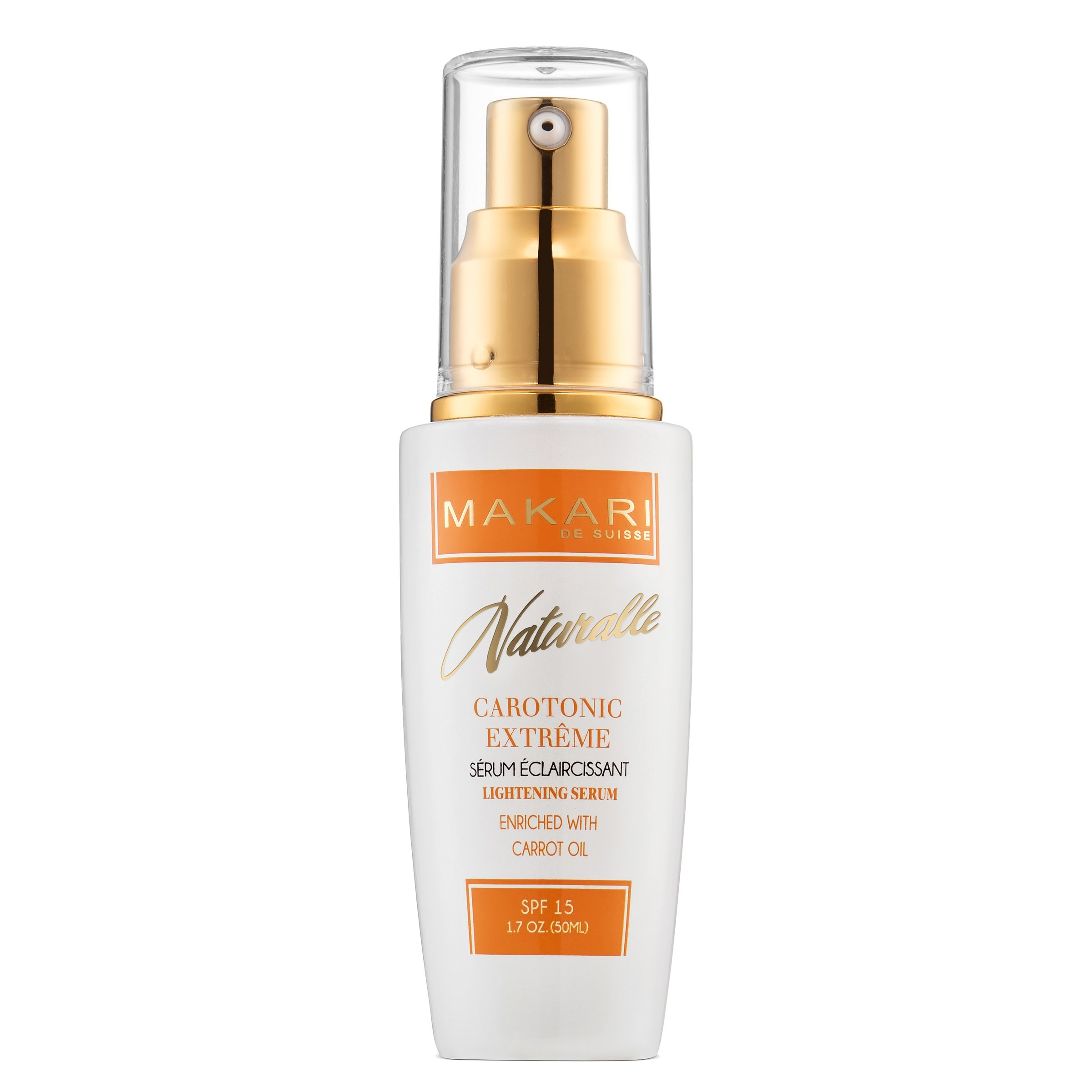 Makari Naturalle Carotonic Extreme Skin Lightening Serum 1.7oz - Toning & Brightening Face Serum with Carrot Oil & SPF 15 - Anti-Aging Whitening Treatment for Acne Scars, Dark Spots & Wrinkles by MAKARI