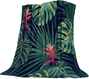 Soft Flannel Bed Blanket Soft Throw-blankets for Kids Teenages Adults Bedroom Decor,Tropical Jungle Tortoiseshell Flower Plant,Lightweight Blankets for Bedroom Living Room Sofa Couch,39x49inch