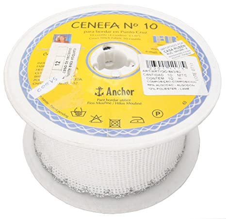 Rollo de cinta cenefa para bordado a mano de punto cruz. 10 Counts. Bordes