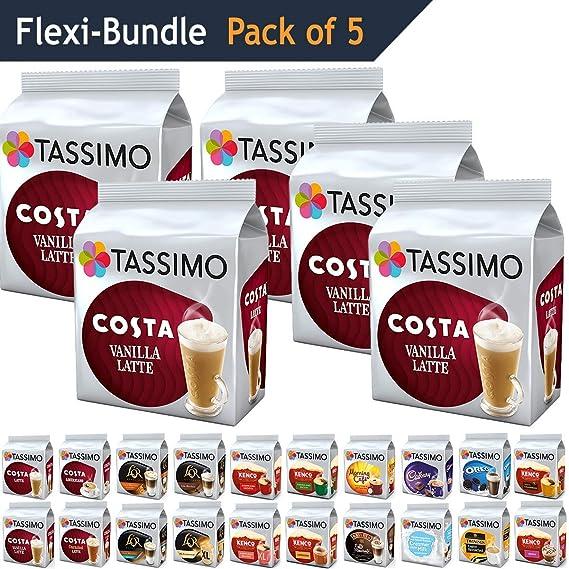 Tassimo Pods Pack Of 5 Costa Vanilla Latte Flexible Bundle Coffee Pod Refill Capsules T Discs 40 Servings