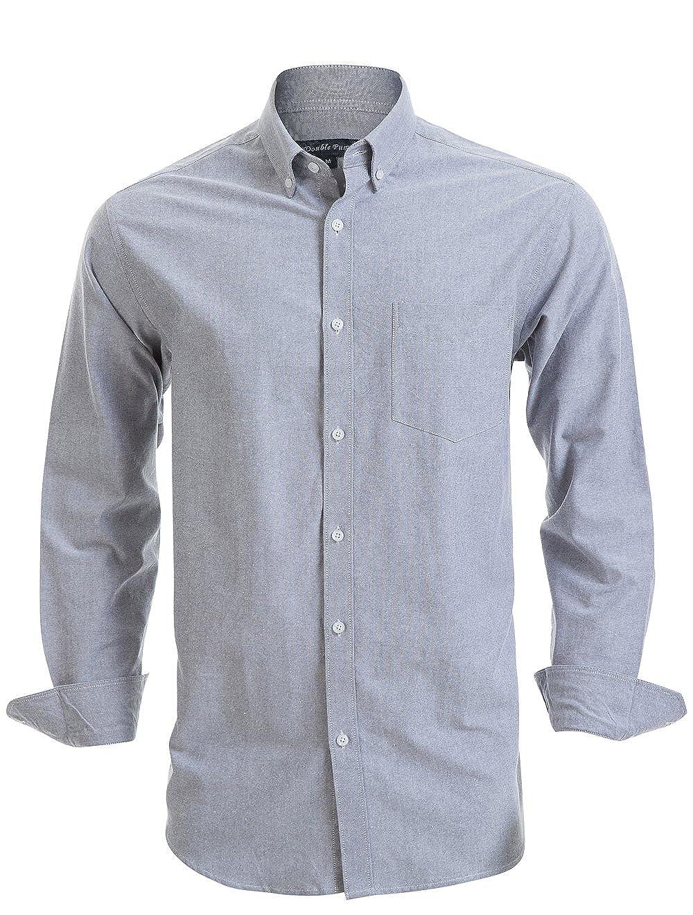 Double Pump Mens Button Down Shirts 100/% Cotton Long Sleeve Shirts Regular Fit