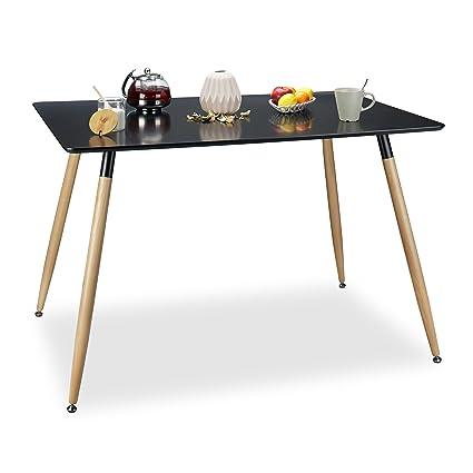 Relaxdays Table A Manger Arvid Rectangle Table De Salon Table Appoint En Bois Hxlxp 75 X 120 X 80 Cm Design Scandinave Nordique Noir