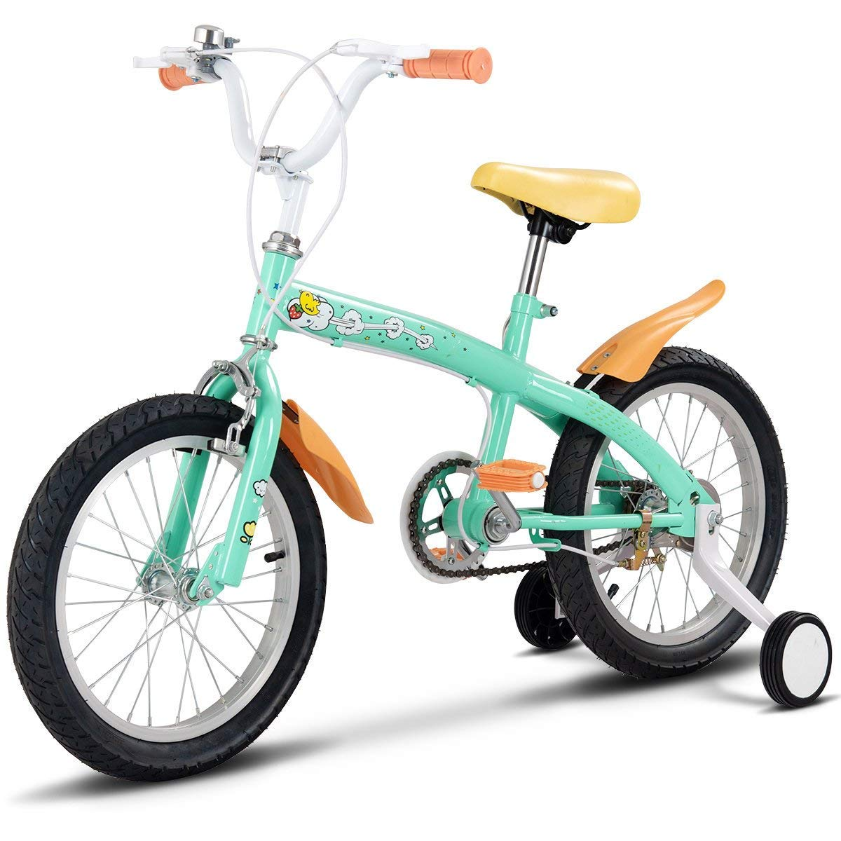 Costzon Kids Bike, Bicycle with Training Wheels & Hand Brake for Boys and Girls,12-16 Inch, Green, Pink, Yellow (Green, 16'')