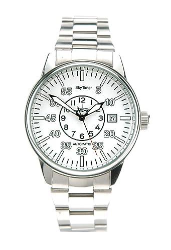 SkyTimer Planeador Reloj Automático De 510605022 Miyota 8215, STI Corona, carcasa de acero inoxidable, base de cristal, 10 ATM impermeable, correa de acero ...