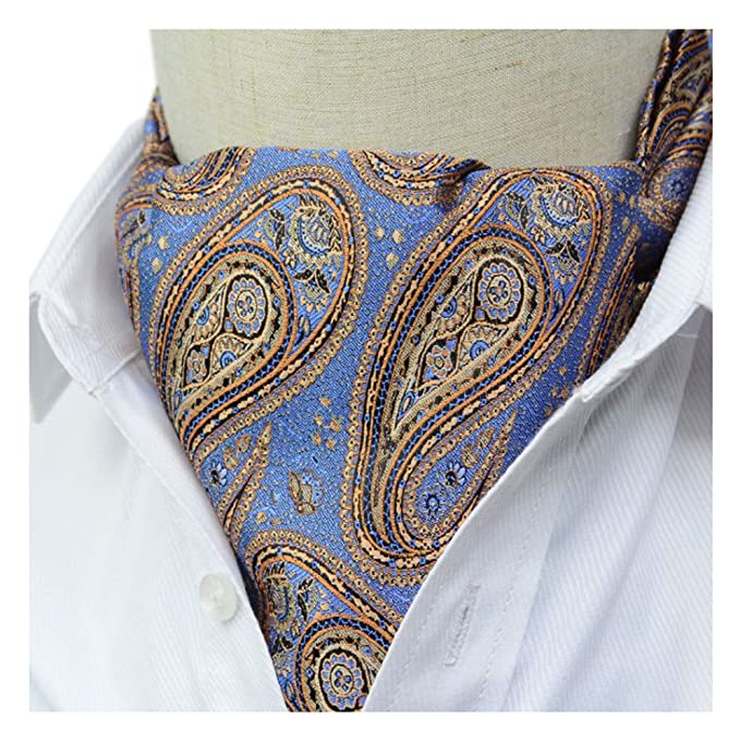 2bb4cd693bc2 Secdtie Men's Blue Floral Silk Cravat Ties Jacquard Woven Casual Ascot Scarf  10