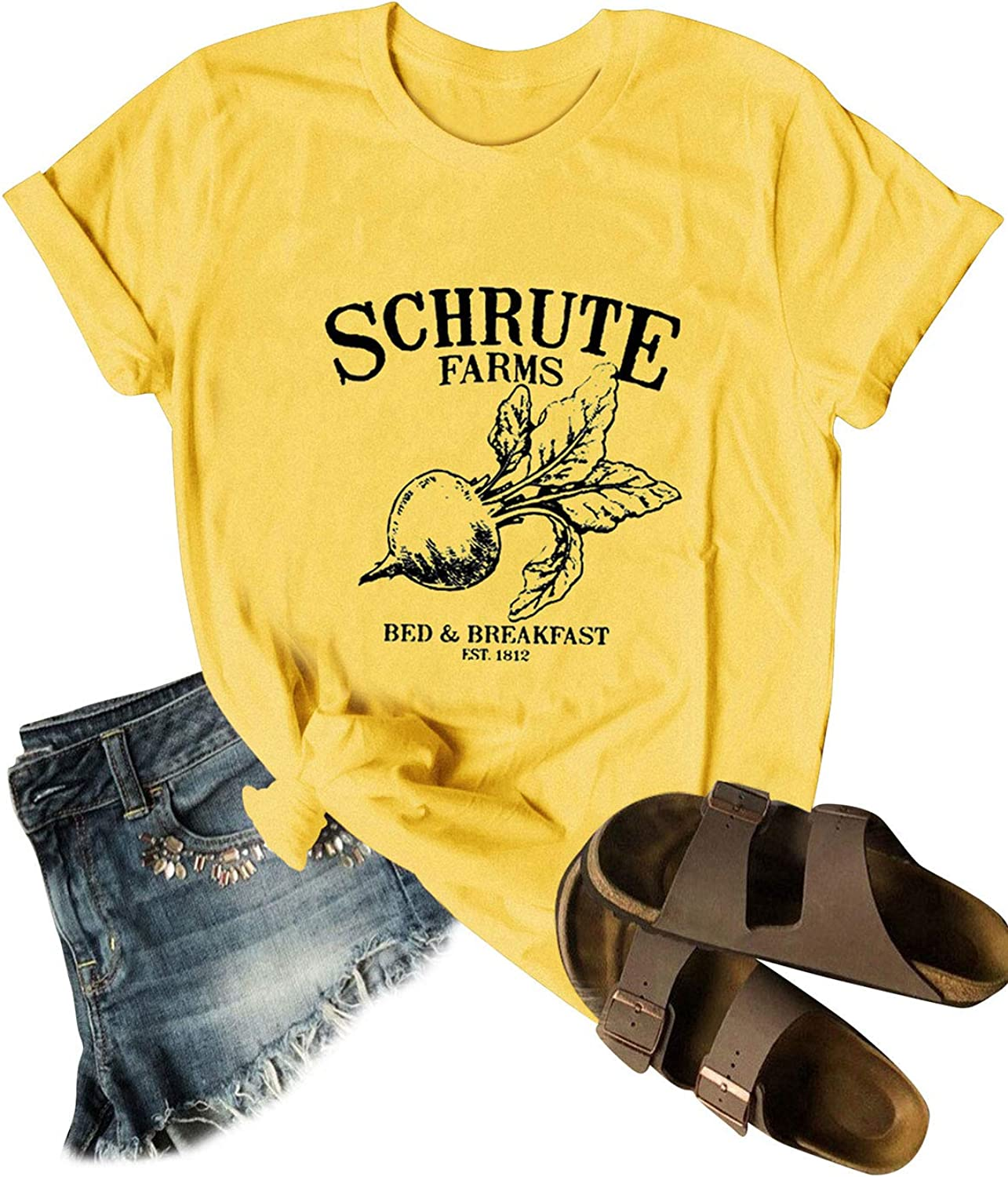 STYLEIE Women Schrute Farms Letter Cute Graphic The Office Fan Round Neck Shirts