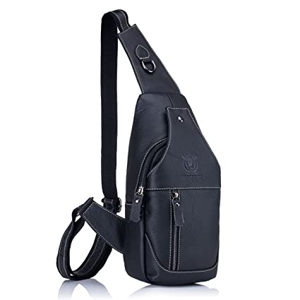 670d9b49f42 Amazon.com  CHARMINER Men Sling Bag, Genuine Leather Chest Shoulder  Messenger Bag Casual Crossbody Bag Daypacks Black M  Sports   Outdoors