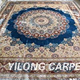 Yilong 8'x10' Oriental Rugs Vintage Handmade Silk Carpet Classic Persian Big Medallion Blue Hand Knotted Home Carpet YN059