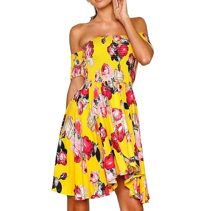 71739aa612 POTO Beach Dress,Women's Off Shoulder Floral Print Short Sleeve Summer  Beach Dress Sundress Maxi