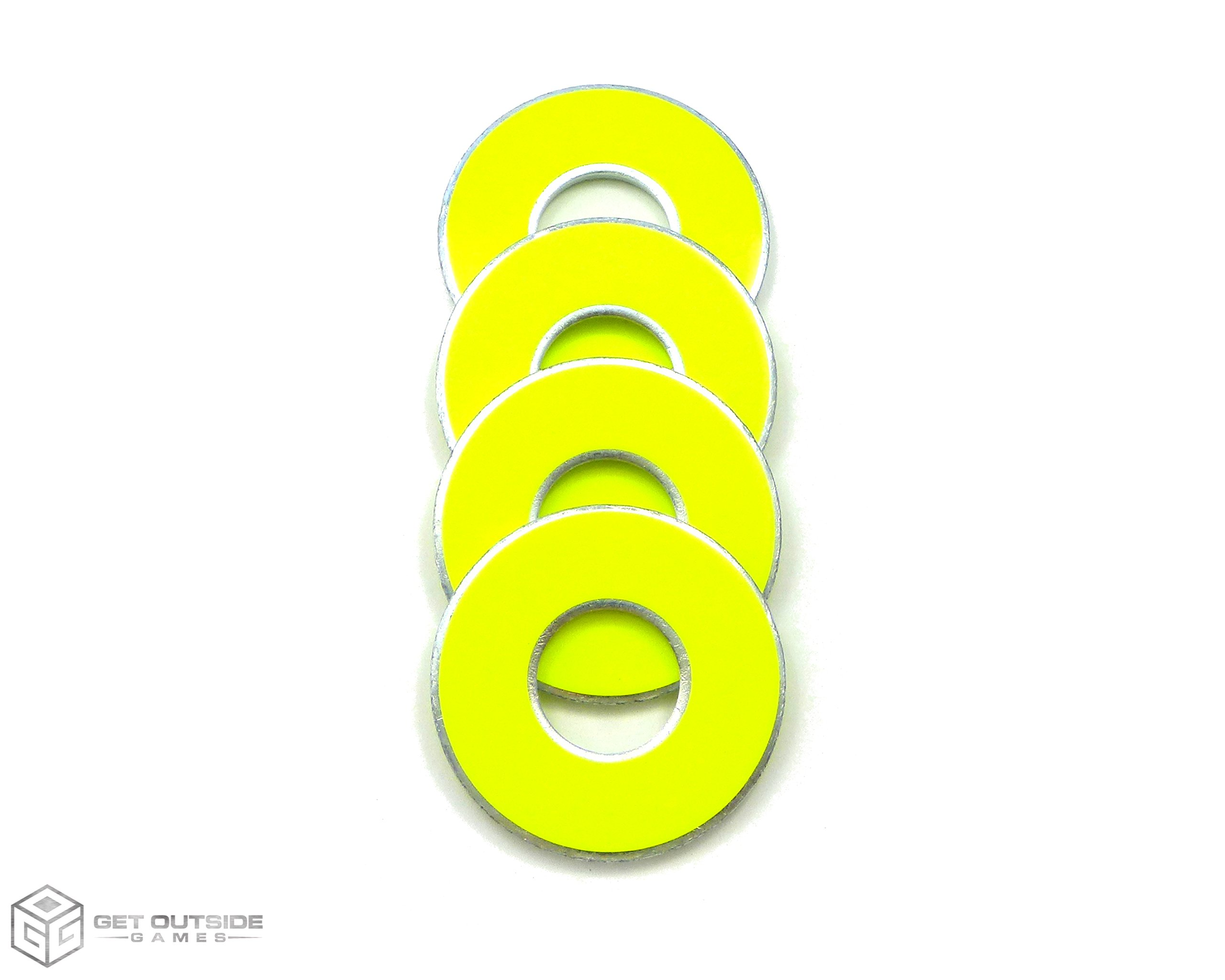 Get Outside Games 4 Neon Fluorescent VVashers - Washer Toss/Washer Game Washers - 5 Colors (Yellow, 4 VVashers with Container) by Get Outside Games