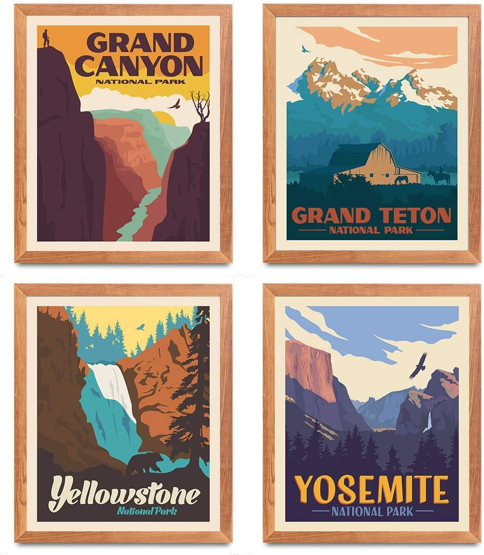 National Park Posters & Prints - Set Of 4 By Herzii Prints | Vintage National Parks Poster | Nature Wall Art Decor | Mountain Travel Posters (8
