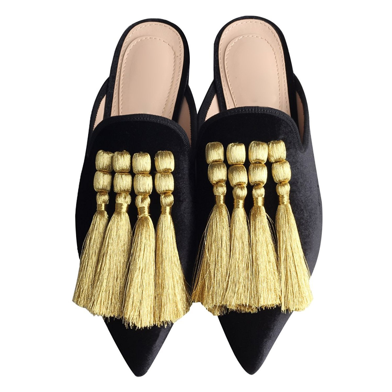 Noir Tassel QIN&X Chaussures Femmes Sandales Talon Bas 38 EU