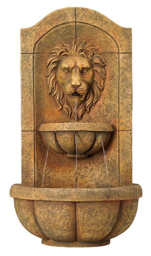 """Lion Head Faux Stone 29 1/2"""" High LED Wall Fountain"""