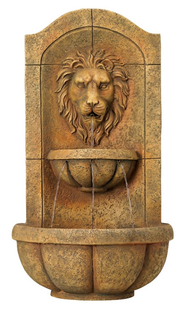 Lion Head Faux Stone 29 1/2'' High Wall Fountain