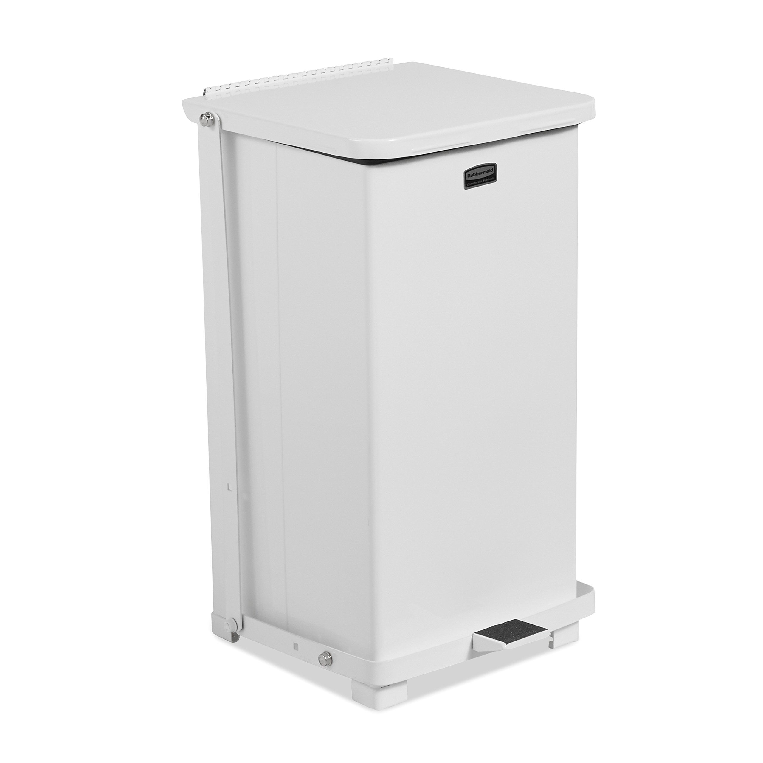 Rubbermaid Commercial FGQST12EPLWH The Silent Defenders Steel Step Trash Can, Square with Plastic Liner, 12-gallon, White