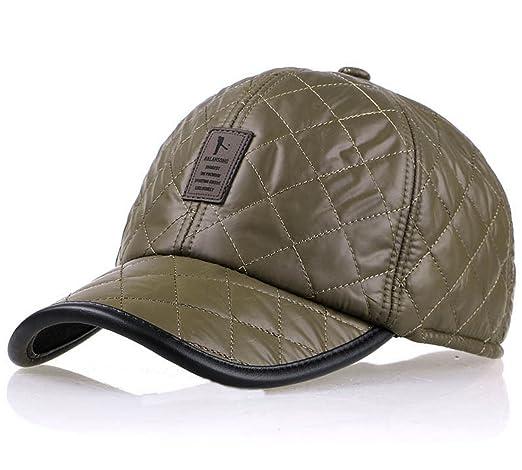 32b1c720621 REGITWOW Winter Men s Waterproof Quilting Cotton Fleeced Baseball Cap Hat  With Fold Earmuffs at Amazon Men s Clothing store