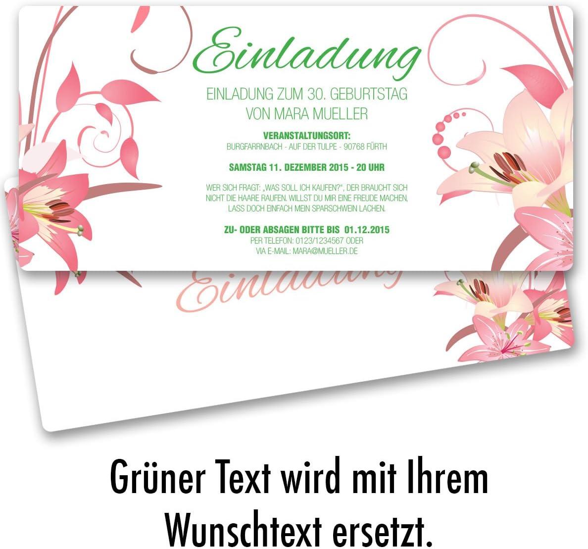 Einladungskarten Geburtstag Blumen Geburtstagseinladungen Karte Einladungen 30 x