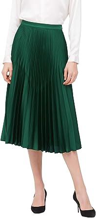 LilySilk Jupe en Soie Jupe Longue pour Femme Jupe Plissée Mi Longue