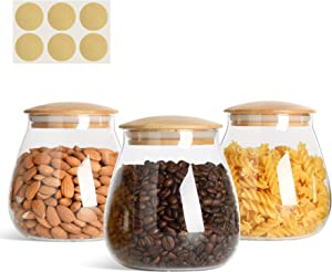 KTMAMA Airtight Glass Storage Canister with Wood Lid (30oz/900ml), Round Clear Food Storage Container Jar with Sealing Bamboo Lid for Nut Coffee Beans Flour Cereal Rice Sugar Tea, Set of 3