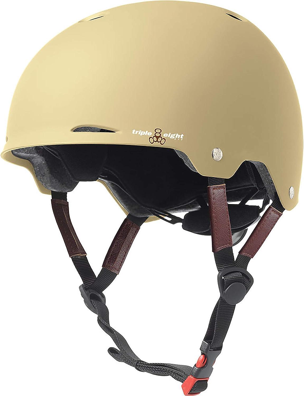 Triple 8 Gotham Cream Matte Rubber Large / X-Large Skateboard Helmet - CE/CPSC Certified by Triple Eight