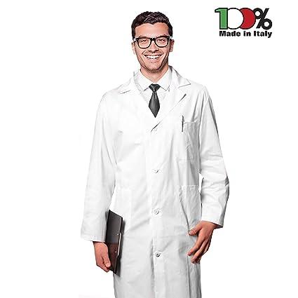 AIESI Bata de Laboratorio Medico para Hombre blanco de algodón 100% sanforizado MADE IN ITALY
