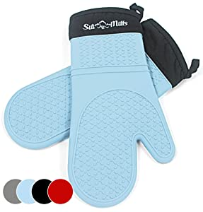 Blue Silicone Oven Hot Mitts - 1 Pair of Extra Long Professional Heat Resistant Pot Holder & Baking Gloves - Food Safe, BPA Free FDA Approved With Soft Inner Lining