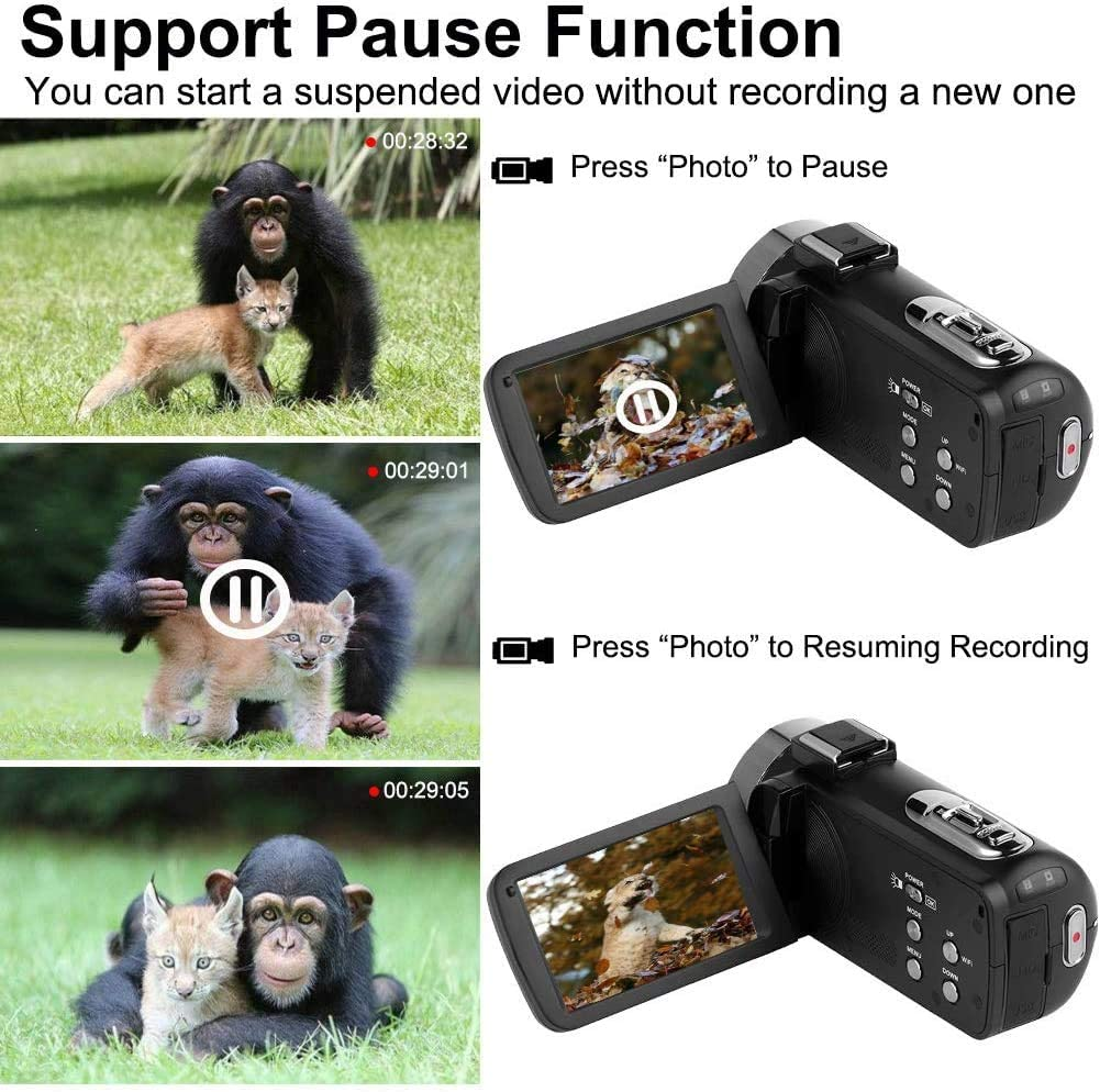 Videoc/ámara 2.7K ,C/ámara de Video Ultra HD 1080P 30FPS WiFi y C/ámara de Visi/ón Nocturna por Infrarrojos,Videoc/ámara C/ámara Digital con Pantalla T/áctil de 3.0 Pulgadas y 24MP