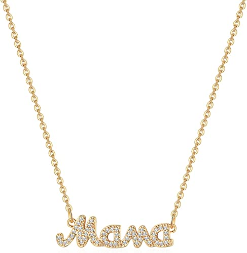 Silver Jewelry 14K Solid Gold Necklace Mama Necklace Personalized Name Necklace Mom Gift Mother Necklace Mother/'s Day Gift