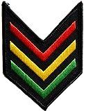 ecusson rasta jamaique sergent army armée reggae thermocollant 8x6,5cm patche badge