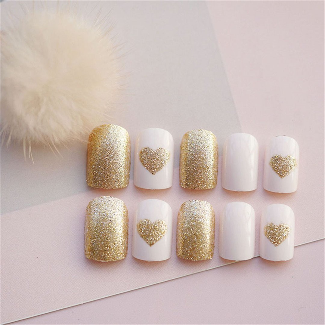 Elegant 24Pcs/Set Champagne+Gold Flash Powder Love False Nails.Middle-Long Lady Square Head Full Nail Tips Patch Art Tool Bride E119