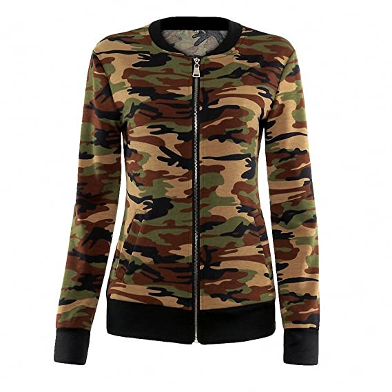 Amazon.com: BlueY Women Basic Coats NEW Autumn Winter Slim Bomber Short Baseball Camouflage Jackets chaquetas mujer jaqueta feminina jacket: Clothing