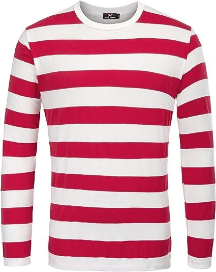 TALLA S. PaulJones Camiseta Casual de Cuello Redondo a Rayas de Moda para Hombre