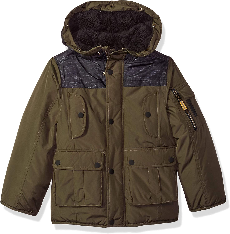 LONDON FOG Boys Warm Winter Coat Parka with Cozy Trimmed Hood