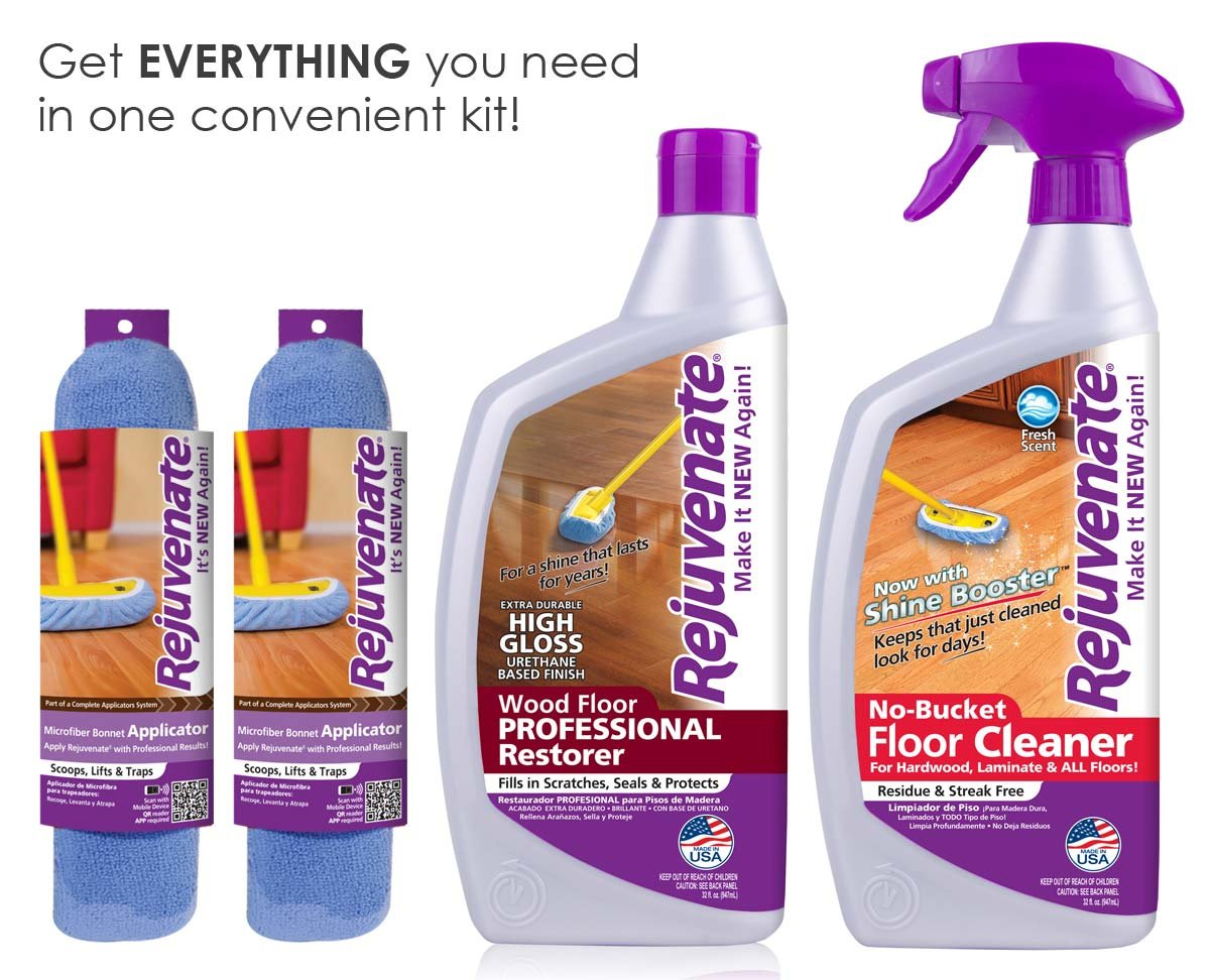 Rejuvenate Professional Wood Floors Restorer High Gloss Non Toxic Easy Mop On Application With Floor Cleaner and 2 Micro Fiber Mop Bonnets 4 Piece Kit