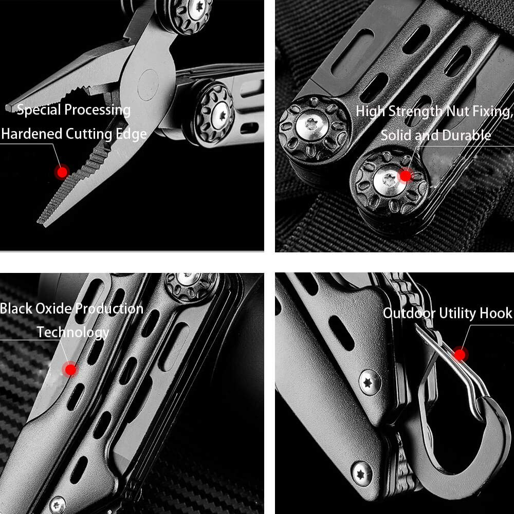 SURNORME Multi Knife 10 in 1 Stainless Steel Foldable Pocket Multitool Pliers Multi tool With Sheath for Outdoor Survival Hiking Camping Hunting by SURNORME (Image #3)