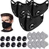 3 Pcs Unisex Protect Mouth Cover Adjustable Reusable with 8 Filters 10 exhaust valves,for Allergies Woodworking Running Sandi