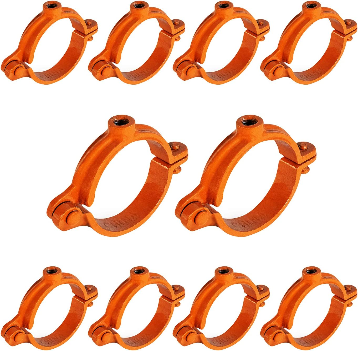 HIGHCRAFT HINGC-01-10 Industrial Decor Hinged Split Ring Pipe Hanger 1 in. Copper Epoxy Coated Iron, with 3/8 in. Rod Fitting, Vintage Mounting Bracket for Tubing, Shower Curtain, Tiki Torch (10 Pack)