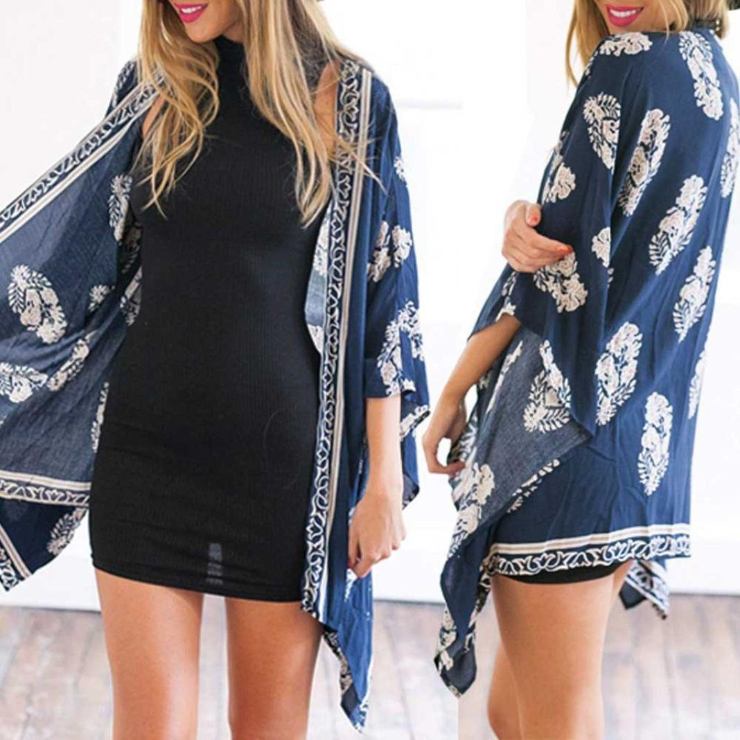 Women Girl Chiffon Kimono Cardigan Coat, Zulmaliu Summer Long Loose Jacket Blouse for Beach, Irregular Long Sleeve Wrap Casual Coverup Tops Outwear (L, 5#) by Zulmaliu-Women Coat (Image #2)