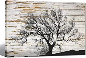 sechars - Black and White Tree in Sunrise on Rustic Wooden Background Canvas Print Winter Landscape Picture Canvas Prints Framed Ready to Hang Modern Living Room Home Ofiice Bedroom Wall Decor 24x36