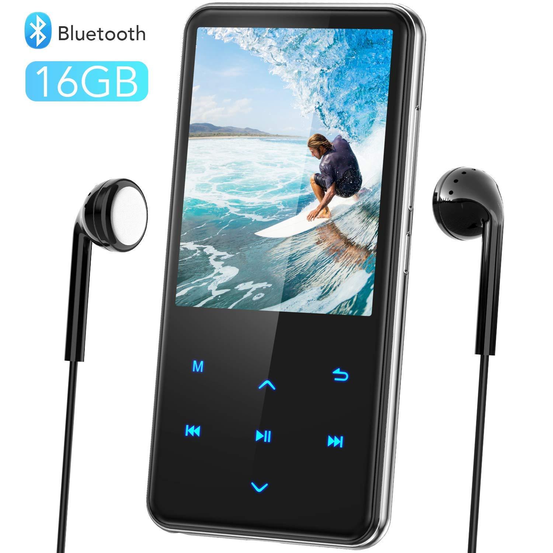 AGPTEK Grand Ecran 32Go MP3 Bluetooth 4.0 en M/étal Corps Miroir 2,4 Pouce Ecran LCD Lecteur Musical avec Bouton Tactile//Volume Ind/épendant Baladeur MP3 Sport Radio FM,Port Carte SD Jusqu/à 128Go