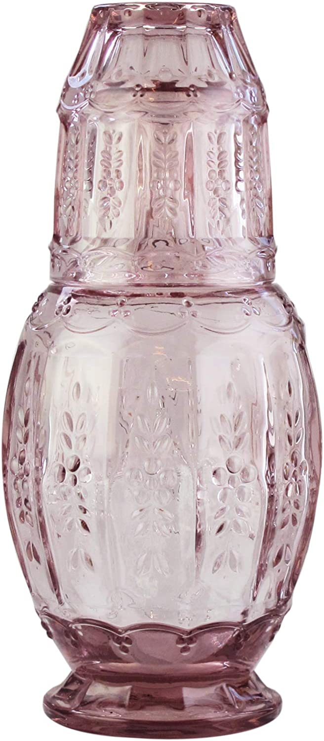 """Elle Décor 310123PK Vintage Bedside Water Carafe with Tumbler – Elegant Pitcher and Matching Drinking Glass Doubles As Lid for Guest Room, Office-Makes A Gift, 4.7x10.4"""", Pink"""