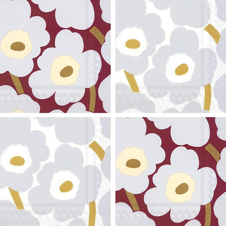 Marimekko Unikko Cocktail Napkins Silver Burgundy Red Floral Assorted Variety Pack 40 Total Napkin