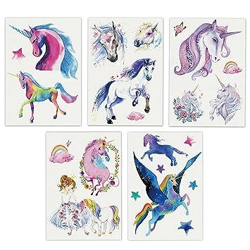 Unicorn - Adhesivo de arte corporal para niñas, diseño de tatuaje temporal, color marrón, desmontable, resistente al ...