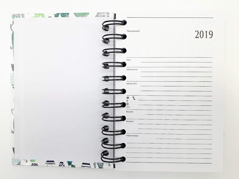 lagom Agenda diaria 2019 fantasía en Espiral 12 meses formato de bolsillo 10 x 15 cm, color CACTUS