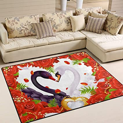 Amazon.com: WIHVE Area Rugs Valentine\'s Day Red Heart Rose ...