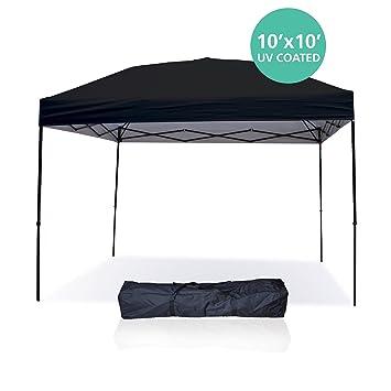 Pop Up Canopy Tent 10 X 10 Feet, Black   UV Coated, Waterproof Instant
