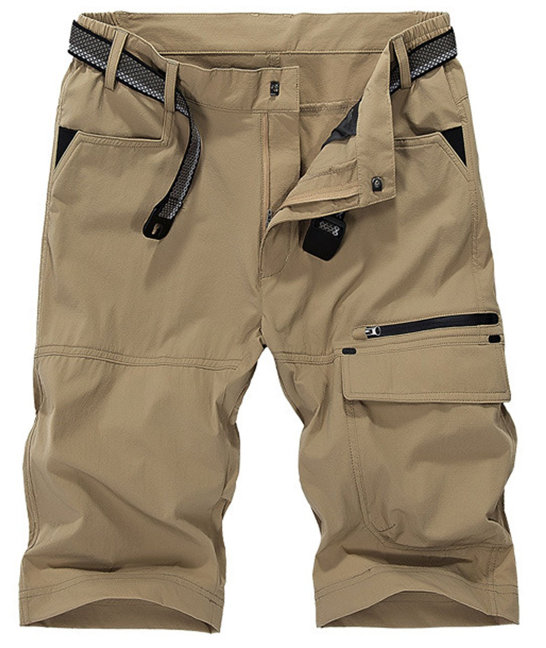 HOW'ON Men's Outdoor Expandable Waist Lightweight Quick Dry ShortsKhaki 30