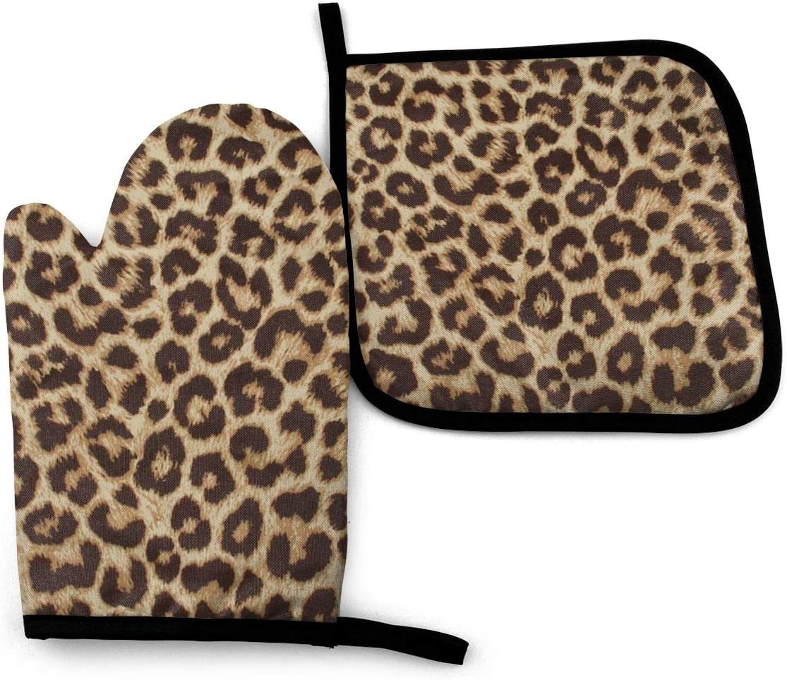 Oven Mitts and Pot Holders Set,Leopard Print Washable Heat Resistant Kitchen Non-Slip Grip Oven Gloves for Microwave BBQ Cooking Baking Grilling