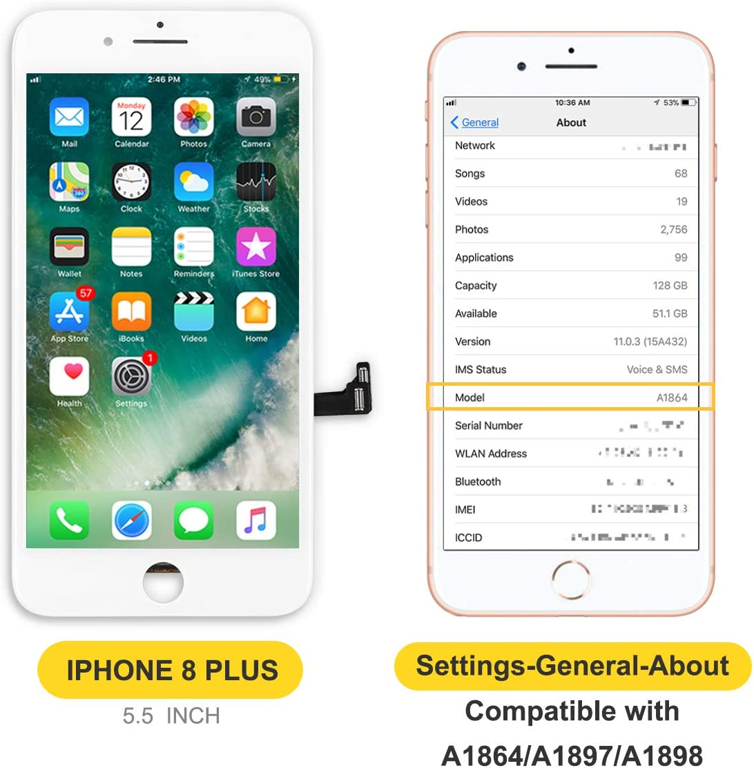 bokman for iPhone 8 Plus White Screen Replacement Parts Display Assembly Front Panel